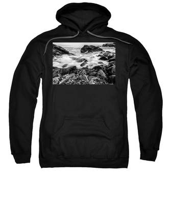 Waves Against A Rocky Shore In Bw Sweatshirt