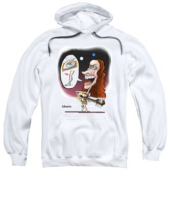 Sweatshirt featuring the digital art Alanis Morissette by Mark Armstrong