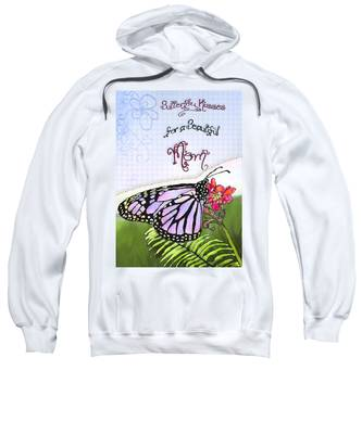 Sweatshirt featuring the painting Butterfly Kisses by Susan Kinney
