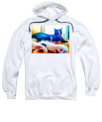 Sweatshirt featuring the painting Cat Feet by Derek Gedney