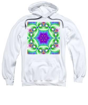 Sweatshirt featuring the digital art Cosmic Spiral Kaleidoscope 10 by Derek Gedney