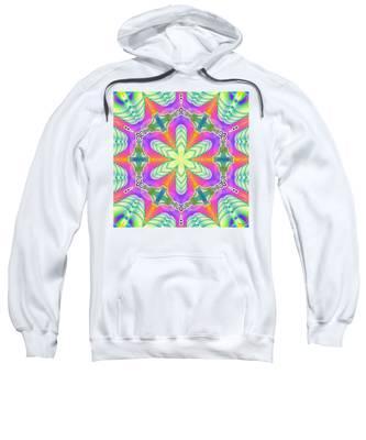 Sweatshirt featuring the digital art Cosmic Spiral Kaleidoscope 18 by Derek Gedney