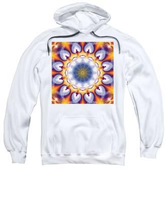 Sweatshirt featuring the digital art Cosmic Spiral Kaleidoscope 34 by Derek Gedney