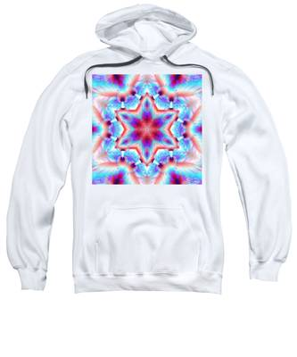 Sweatshirt featuring the digital art Cosmic Spiral Kaleidoscope 45 by Derek Gedney