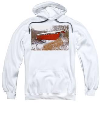 Everett Rd. Covered Bridge In Winter Sweatshirt