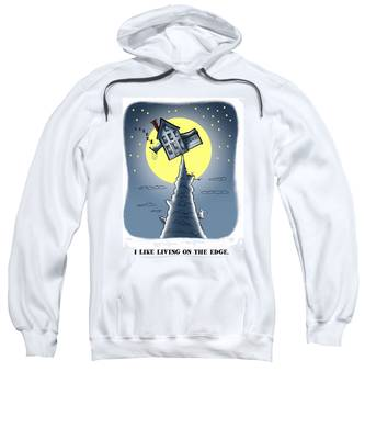 Sweatshirt featuring the digital art Living On The Edge by Mark Armstrong