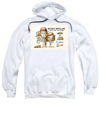Sweatshirt featuring the digital art Mickey Spillane by Mark Armstrong