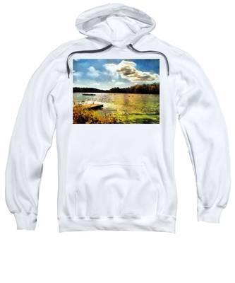 Sweatshirt featuring the painting Mohegan Lake Gold by Derek Gedney