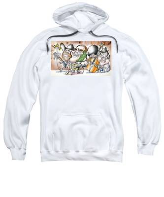 Sweatshirt featuring the digital art Arnold And The Terminators by Mark Armstrong