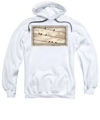 Sweatshirt featuring the digital art Birds On Wires by Susan Kinney