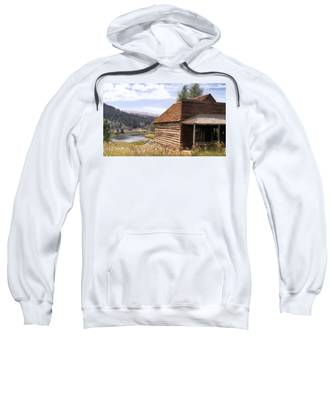 Sweatshirt featuring the painting Vc Backyard by Susan Kinney