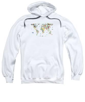 Animal Map Of The World For Children And Kids Sweatshirt