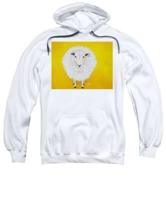 Sheep Painting On Yellow Background Sweatshirt