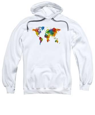 Map Of The World Map Watercolor Sweatshirt