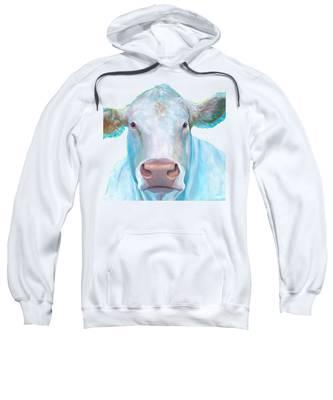 Charolais Cow Painting On White Background Sweatshirt