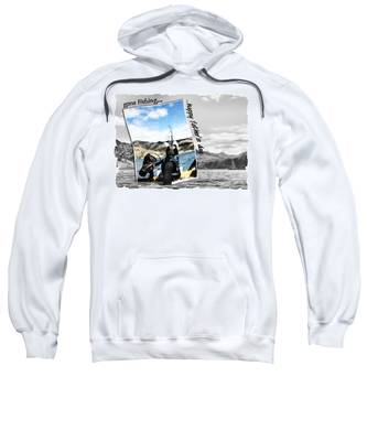 Sweatshirt featuring the digital art Gone Fishing Father's Day Card by Susan Kinney