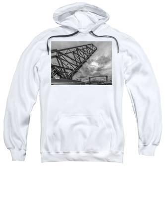 Jackknife Bridge To The Clouds B And W Sweatshirt by Lon Dittrick