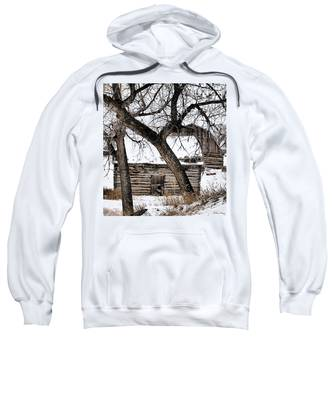 Sweatshirt featuring the photograph Old Ulm Barn by Susan Kinney