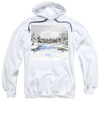Sweatshirt featuring the painting Seeley Montana Winter by Susan Kinney