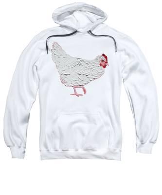 White Chicken On White Background Sweatshirt