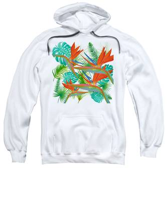 Bird Of Paradise Flower And Tropical Leaves And Ferns Sweatshirt
