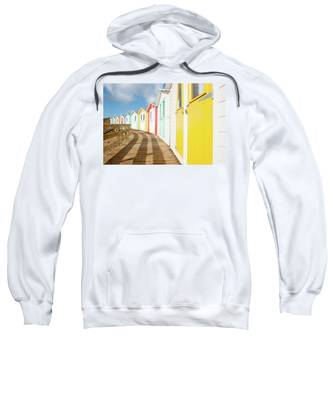 Colourful Bude Beach Huts Sweatshirt