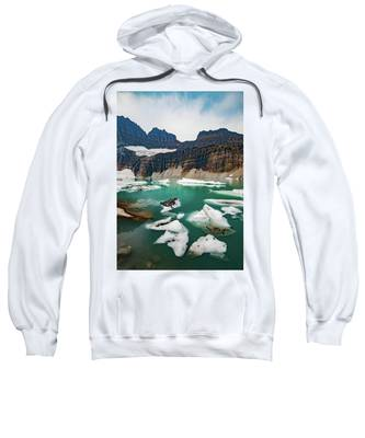Grinnell Glacial Lake At Glacier National Park Sweatshirt by Lon Dittrick