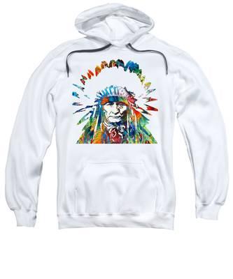 Native American Portrait Hooded Sweatshirts T-Shirts
