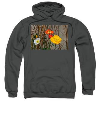 Colorful Poppies And White Willow Stems Sweatshirt