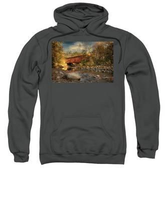 Everett Rd Summit County Ohio Covered Bridge Fall Sweatshirt