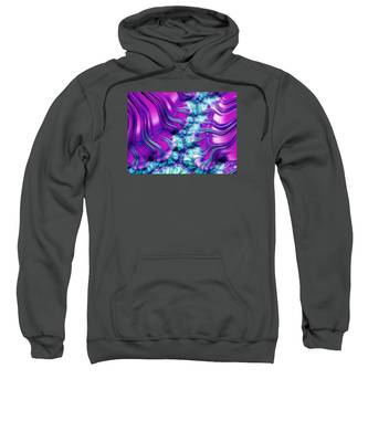 Magenta And Aqua Soft Fractal Abstract Sweatshirt