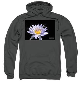 Summer Magic -- Dragonfly On Waterlily On Black Sweatshirt