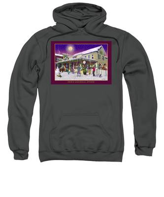 Winter At Zebs General Store In North Conway Nh Sweatshirt