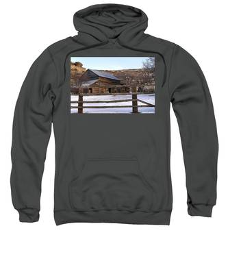 Sweatshirt featuring the photograph  Country Barn by Susan Kinney