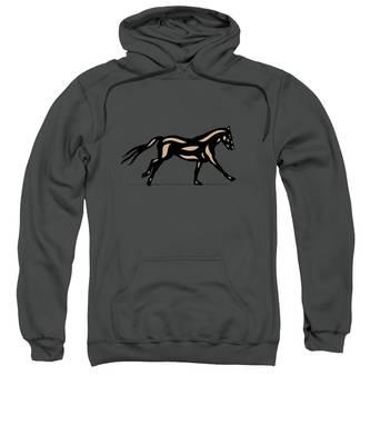 Sweatshirt featuring the digital art Clementine - Pop Art Horse - Black, Hazelnut, Emerald by Manuel Sueess