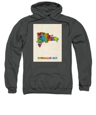 Dominican Republic Watercolor Map Sweatshirt