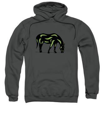 Sweatshirt featuring the digital art Hazel - Pop Art Horse - Black, Greenery, Purple by Manuel Sueess