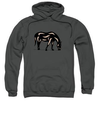 Sweatshirt featuring the digital art Hazel - Pop Art Horse - Black, Hazelnut, Greenery by Manuel Sueess