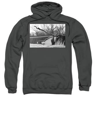 Icicle Laden Branch Over The Waterfall Sweatshirt