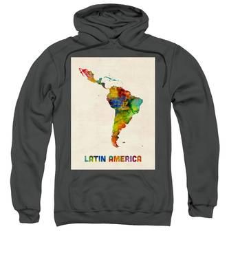 Latin America Watercolor Map Sweatshirt