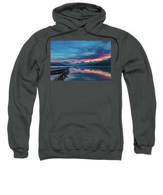 Morning Glory At Glacier National Park Sweatshirt by Lon Dittrick