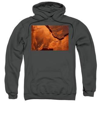 Petroglyphs In Monument Valley Navajo Tribal Park Sweatshirt by Lon Dittrick