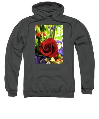 Red Rose And Flowers Sweatshirt