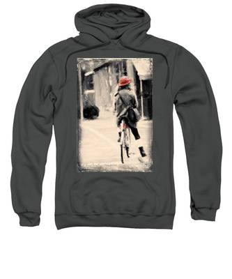 Riding My Bicycle In A Red Hat Sweatshirt