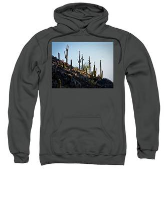 Sweatshirt featuring the photograph Sonoran Desert Saguaro Slope by Judy Kennedy