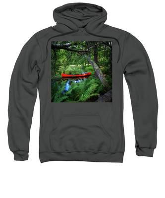 The Red Canoe On The Lake Sweatshirt