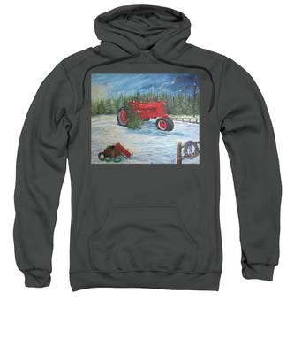 Antique Tractor At The Christmas Tree Farm Sweatshirt
