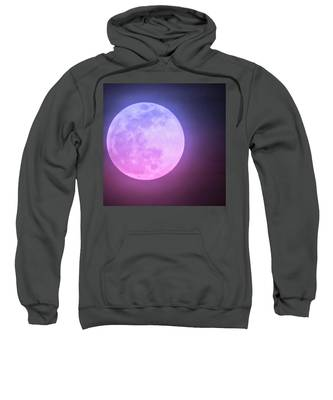 Sweatshirt featuring the photograph Cancer Super Wolf Blood Moon Near Eclipse by Judy Kennedy