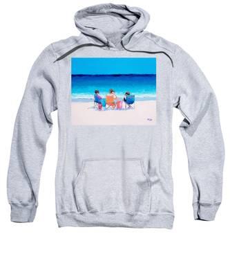 Beach Painting 'girl Friends' By Jan Matson Sweatshirt