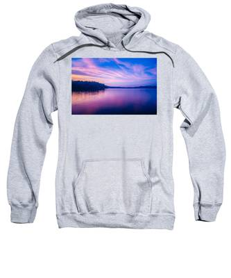 Sunset During Blue Hour At The Lake Sweatshirt